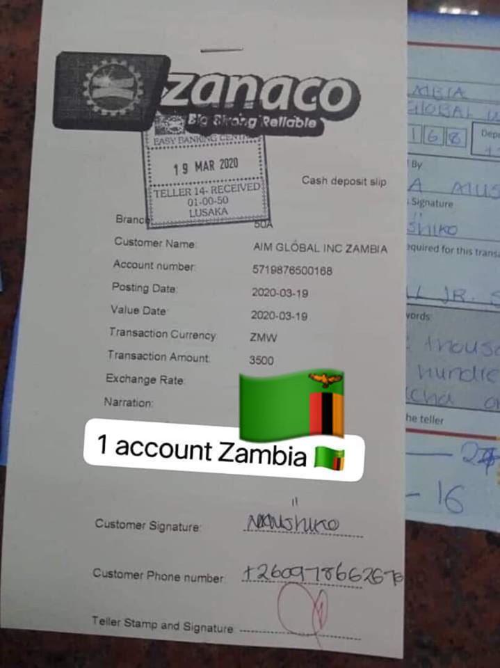 zanaco payment receipt aim global zambia